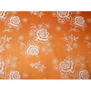 10cm Dirndlstoff (Trachtensatin aus EU-Produktion) weißer Rosendruck auf orange  (Grundpreis 21,00/m) 10% Rabatt bis Mittwoch mit dem Code N10 (im Warenkorb eingeben)