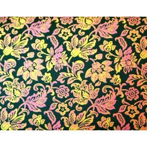 10cm Dirndlstoff (Trachtensatin aus EU-Produktion) goldgelb/rosa Blütendruck auf Tannengrün  (Grundpreis 21,00/m) 10% Rabatt bis Mittwoch mit dem Code N10 (im Warenkorb eingeben)