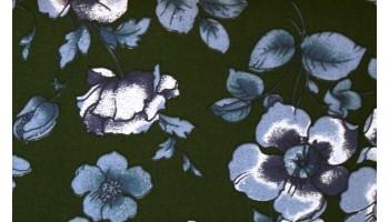 10cm Baumwoll - STRETCH   Jeansblaue Blüten auf Dunkelgrün   (Grundpreis € 10,00/m)