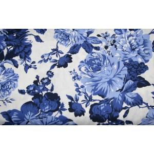 10cm Baumwolldruck  BLAUE ROSEN AUF WEISS (Grundpreis € 9,00/m)