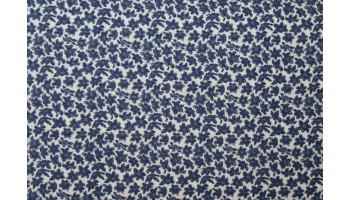 10cm Baumwolldruck aus EU-Produktion blaue Blümchen auf Wollweiss  (Grundpreis € 17,00/m)