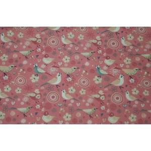 """10cm Baumwolldruck """"Vögelchen auf Altrosa"""" , eher dünner Stoff 110g/m2  (Grundpreis € 10,00/m)"""