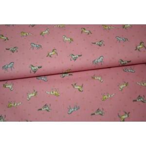 """10cm Baumwolldruck """"Pferde auf Rosa"""" , eher dünner Stoff 110g/m2  (Grundpreis € 10,00/m)"""