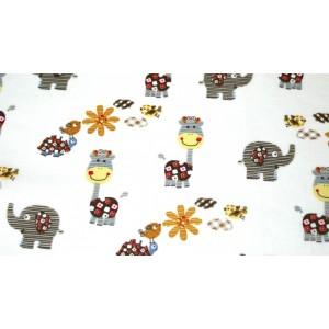 """10cm Baumwolldruck """"lustige Giraffen und Elefanten auf Ecru""""  (Grundpreis € 13,00/m)"""