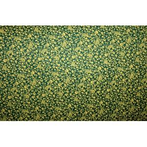 10cm Dirndlstoff (Baumwolldruck aus EU-Produktion) gelbes Bumen-Paisleymuster auf Dunkelgrün (Grundpreis 12,00/m)