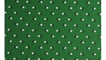 10cm Dirndlstoff (Baumwolldruck aus EU-Produktion) Streublumen  weiss/schwarz/TANNENGRÜN  (Grundpreis 29,00/m)