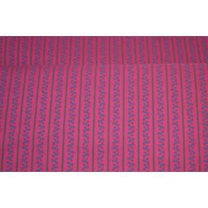 10cm Dirndlstoff (Baumwolldruck aus EU-Produktion) schmaler Blumenstreif kobaldblau/tannengrün/PINK  (Grundpreis 29,00/m)