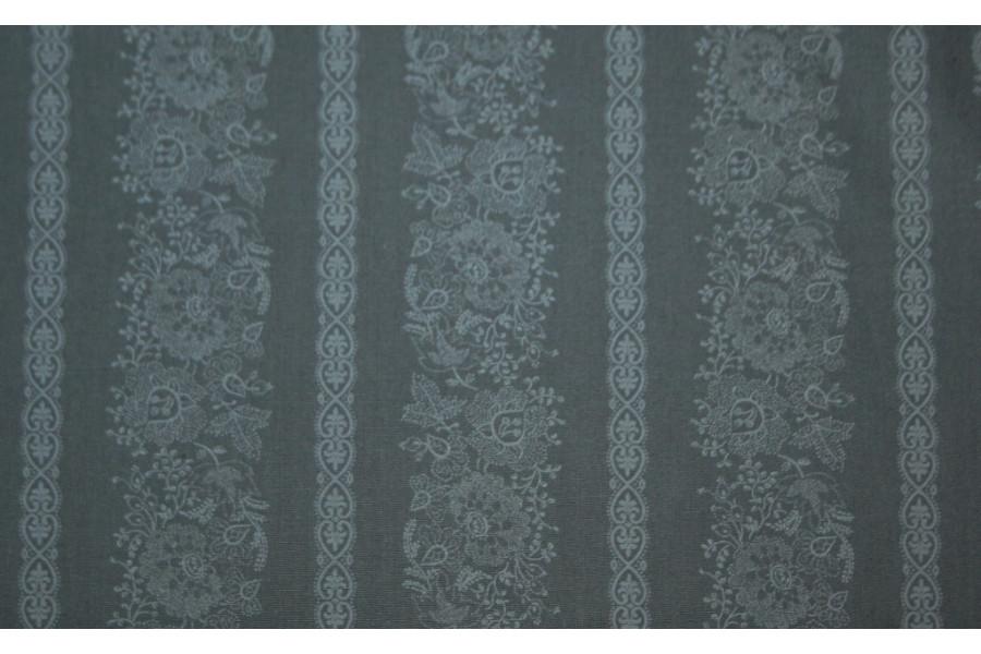 10cm Dirndlstoff (bedruckt in der EU) breiter Blumenstreif Ton in Ton MITTELGRAU  (Grundpreis 28,00/m)