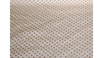 10cm Dirndlstoff (Trachtensatin aus EU-Produktion) rote Blümchen auf Beige  (Grundpreis 21,00/m)