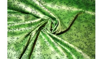 10cm Dirndlstoff (Trachtensatin aus EU-Produktion) Blumenrankendruck dunkelgrün/apfelgrün  (Grundpreis 18,00/m)