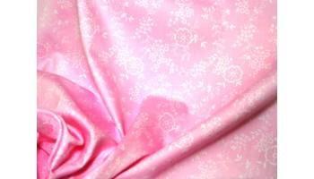 10cm Dirndlstoff (Trachtensatin aus EU-Produktion) Blumenrankendruck weiss/rosa  (Grundpreis 18,00/m)