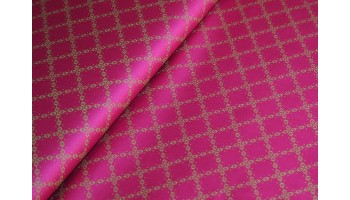 10cm Dirndlstoff (Trachtensatin aus EU-Produktion) Rauten grün/pink (Grundpreis 21,00/m)