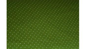 10cm Dirndlstoff (Trachtensatin aus EU-Produktion) Tupfen wollweiss auf Spargelgrün (Grundpreis 18,00/m)