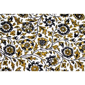 10cm Baumwolldruck Landhaus Blumenranken auf Weiss (Grundpreis 8,00/m)