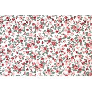 """10cm Baumwolldruck Landhaus """"Romantikblüten rosa auf Weiss""""  aus EU-Produktion  (Grundpreis € 12,00/m)"""