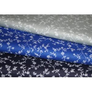 10cm Baumwolldruck Landhaus (etwas fester) Blumenranken auf Nachtblau, Kobaldblau oder Hellgrau (Grundpreis 8,00/m)