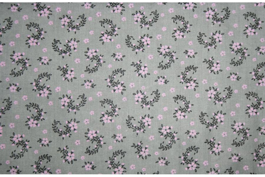 10cm Baumwolldruck Landhaus Blumenbögen rosa auf GRAU (Grundpreis 8,00/m)