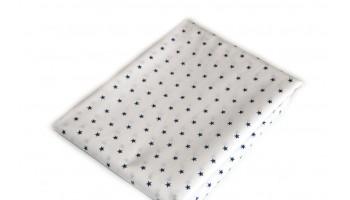 Baumwollstoff B48 dunkelblaue Sternchen auf Weiss zum sonnigen Preis  (Grundpreis € 6,00/m)