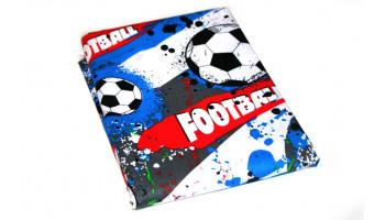 Baumwollstoff B57 große Fußbälle rot/blau/schwarz  zum sonnigen Preis  (Grundpreis € 6,00/m)