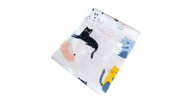 Baumwollstoff B58 Katzen auf Beige  zum sonnigen Preis  (Grundpreis € 6,00/m)