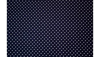 10cm Baumwolldruck Tupfen 2mm weiss/dunkelblau  (Grundpreis € 12,00/m)