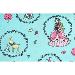 """10cm Baumwolldruck """"Prinzessin Blumenkreise auf Mint"""" aus EU-Produktion  (Grundpreis € 11,00/m)"""