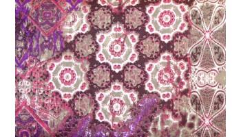 10cm Baumwolldruck Ornamente rosa-lila-taupe