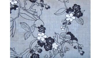 10cm Baumwolldruck Blumenmotive Jeansblau (Grundpreis € 13,00/m)