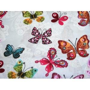 """10cm Baumwolldruck """"Schmetterlinge auf Hellgrau"""" (Grundpreis € 12,00/m)"""