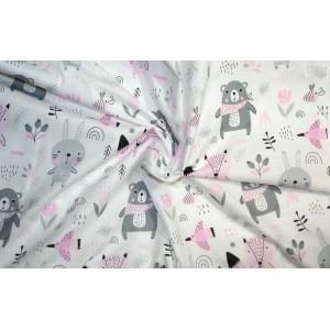 10cm Baumwolldruck Tiere rosa/grau auf Weiss (Grundpreis € 10,00/m)