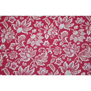 10cm Baumwolldruck BLUMENRANKEN WEISS AUF PINK feine Qualität,  EU-Produktion (Grundpreis € 18,00/m)