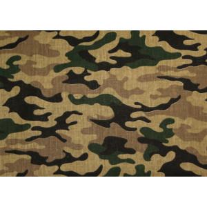"""10cm Baumwolldruck """"Camouflage auf Sandbraun""""  (Grundpreis € 10,00/m)"""