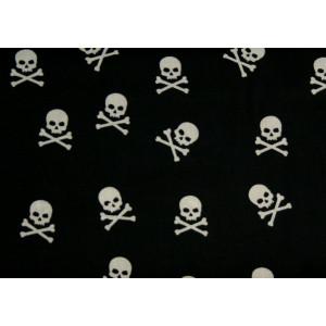 10cm Baumwolldruck Skulls Weiss auf Schwarz (Grundpreis € 11,00/m)