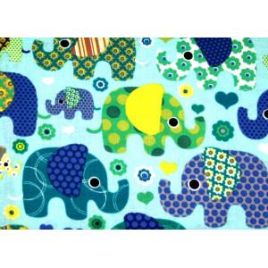 """10cm Baumwolldruck """"bunte Elefanten blau/gelb/mint""""  (Grundpreis € 10,00/m)"""