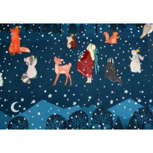 """10cm Baumwolldruck """"Weihnachten"""" DUNKELBLAU, hochwertiger Stoff 115g/m2 aus EU-Produktion (Grundpreis € 15,00/m)"""