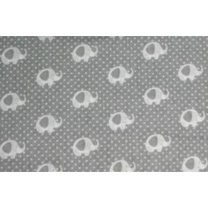 10cm Baumwolldruck Elefanten Weiss auf Grau (Grundpreis € 10,00/m)