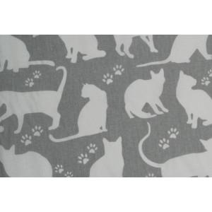 10cm Baumwolldruck Katzen Weiss auf Grau (Grundpreis € 10,00/m)