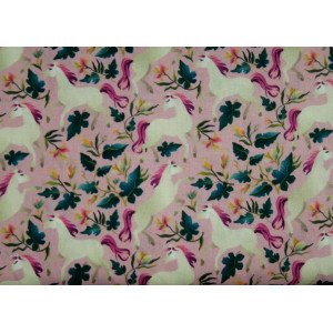 10cm Baumwolldruck elfenbeinfarbene Pferde auf Rosa (Grundpreis € 11,00/m)