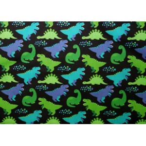 10cm Baumwolldruck Dinos grün, lila und petrol auf Schwarz (Grundpreis € 11,00/m)