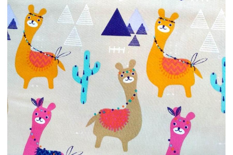 10cm Baumwolldruck bunte Lamas pink/orange (Grundpreis € 12,00/m)