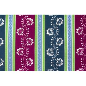 10cm Dirndlstoff (Baumwolldruck aus EU-Produktion) Blumenstreif apfelgrün/blau/rotviolett  (Grundpreis 36,00/m)