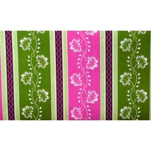 10cm Dirndlstoff (Baumwolldruck aus EU-Produktion) Blumenstreif apfelgrün/pink/rotviolett  (Grundpreis 36,00/m)