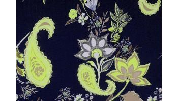 10cm Baumwoll-Voile Paisley & Blumen Neongelb auf Dunkelblau (Grundpreis € 12,00/m)
