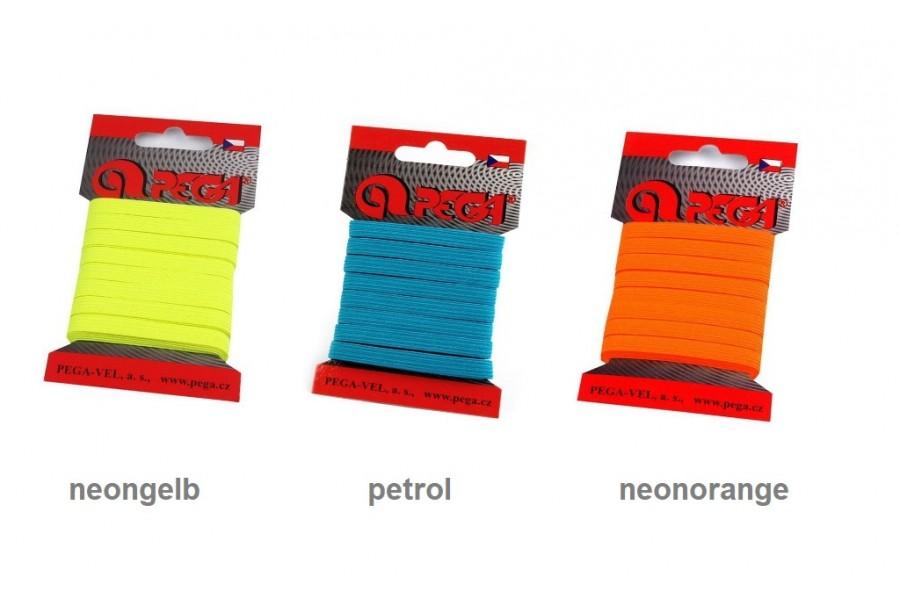 5m Einziehgummi auf der Karte BUNT 7mm breit Farbwahl ( Euro 0,60/m)