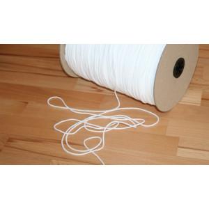 Elastikband rund 2mm breit  WEISS, sehr fein, weich und locker gewebt für Mund - Nasen - Masken.  Mengenrabatt!