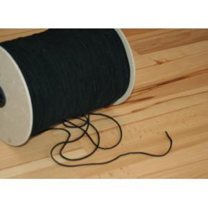 Elastikband rund 2mm breit  SCHWARZ, sehr fein, weich und locker gewebt für Mund - Nasen - Masken.  Mengenrabatt!
