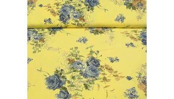 """10cm Stretchjersey """"Blaue Rosen auf Gelb """" (Grundpreis € 14,00/m)"""