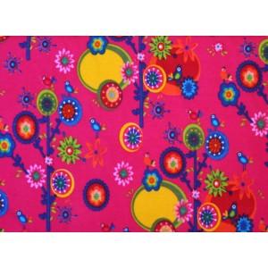 """10cm Stretchjersey """"Blütenbäumchen und Vögelchen auf Pink """" (Grundpreis € 14,00/m)"""