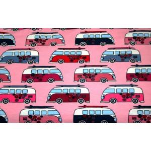 """10cm Stretchjersey """"Hippiebusse pink""""       (Grundpreis € 13,00/m)"""