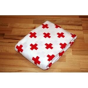 Jersey A118  rote Kreuze auf Weiss   zum sonnigen Preis  (Grundpreis € 10,00/m)